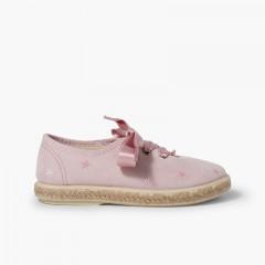 Zapatillas bordado estrellas cordones raso Rosa
