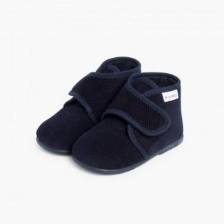 Zapatillas Casa Bota Pana Azul Marino