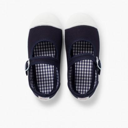 Zapatillas Lona Niña con Hebilla y Puntera de Goma Azul Marino