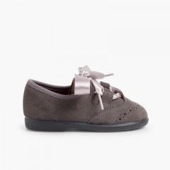 Zapato Inglés Niños en Serraje Gris