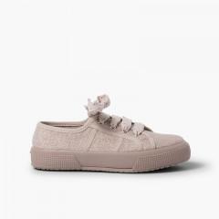 Zapatillas lino brillo mujer y niña Rosa