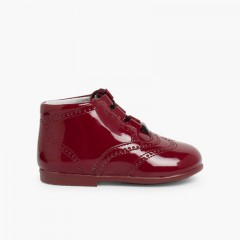 Bota Inglesa/  Zapato Inglés Tipo Charol Burdeos