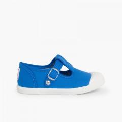 Zapatillas Lona Niños Puntera Goma Tipo Pepitos Azul Royal