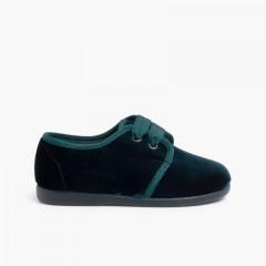 Zapato terciopelo cordón faya Verde