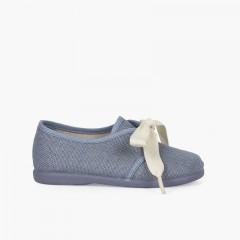 Blucher lino ceremonia niños pequeños lazo  Azul