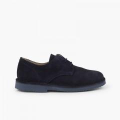 Blucher serraje liso zapato de vestir niño Azul Marino
