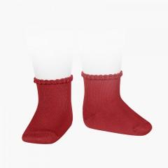 Calcetines Bebé Puño Labrado Rojo