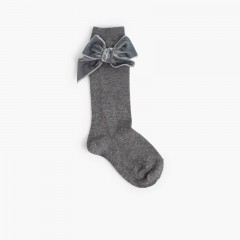 Calcetines niños con lazo terciopelo Gris