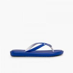 Chanclas dedo goma suela antideslizante Azul