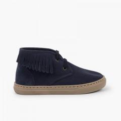 Zapatillas altas con flecos para niños Azul Marino