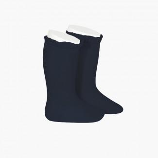 Calcetines altos con puntilla Azul Marino