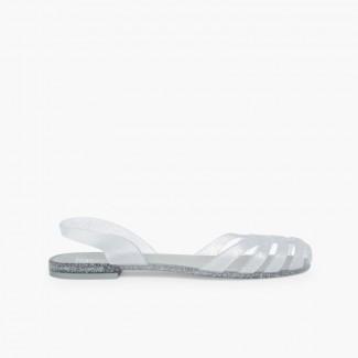Sandalias de Goma para Mujer - Cangrejeras París  Plata