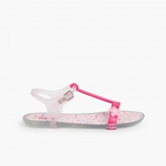 Sandalias de goma Tricia Flores Fucsia
