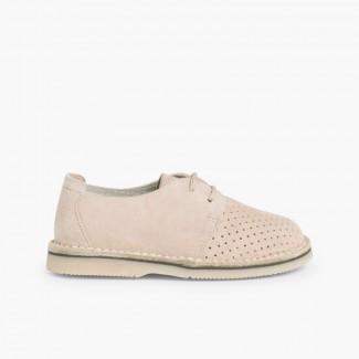Zapato Serraje Blucher con Picado Beige