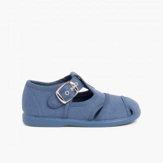 Sandalias Pepitos de lona abiertos  Azul Jeans