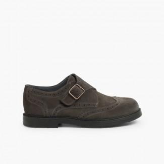 Zapato Blucher Serraje Hebilla Gris