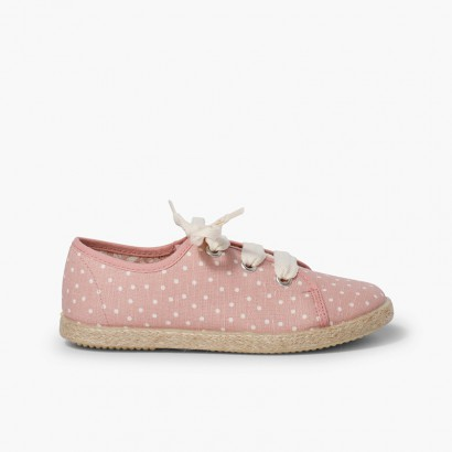 Zapatillas tela puntitos niña  Rosa