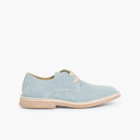 Zapato Blucher Tela de Saco Azul