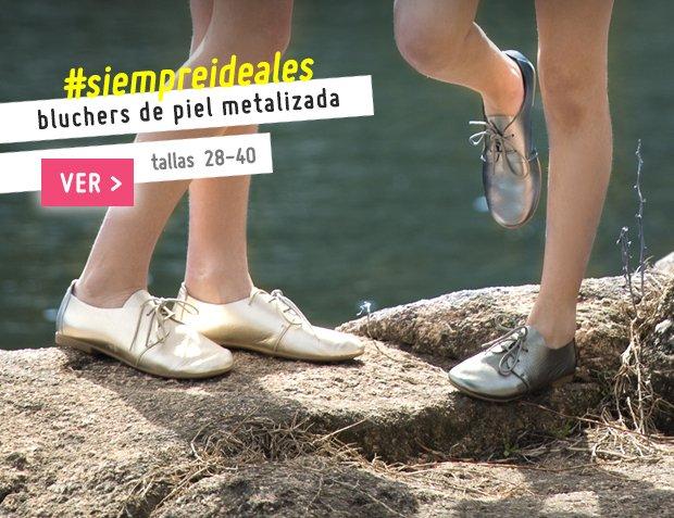 Zapatos Blucher Metalizados para Niña y Mujer Colección Primavera Verano 2017